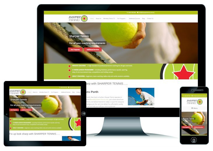 Tennis Coaching Website Design Perth